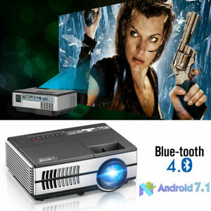 3000lms Wifi Blue-tooth Android 7.1 Full HD Mini Projector Movie Airplay For iOS