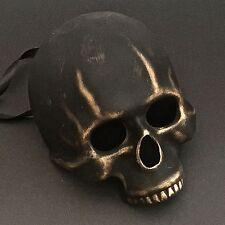 Black Gold Half Skull Face Halloween Ball Prom Costume Masquerade Mask