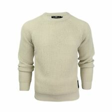 Mens Jumper Crosshatch General Waffle Knitted Crew Neck Wool Mix Sweater