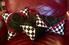 Black Damask Burgundy 3-Pillow Collection Group Set Mackenzie Childs Napkin SALE