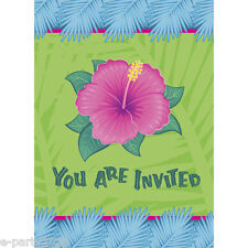 HAWAIIAN LUAU Tropical Bloom INVITATIONS (8) ~ Birthday Party Supplies Card Note