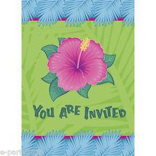 HAWAIIAN LUAU Tropical Bloom INVITATIONS (8) ~ Birthday Party Supplies Card Note