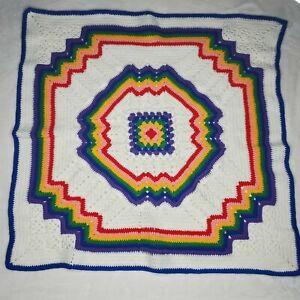 "Beautiful Handmade Crochet Baby Afghan Blanket Rainbow Colors 36"" X 36.5"" New"