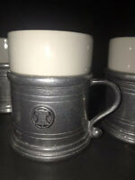 Wilton Armetale Plough Tavern Pewter Mug Holder RWP Ceramic Liner Cup 1972 Bell