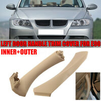 Beige Left Side Inner Outer Door Panel Handle Pull Trim Cover for BMW E90  √ !*