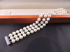 Akoya Pearls Bracelet Certificate $5,200 18k White Gold & 7 Diamonds natural