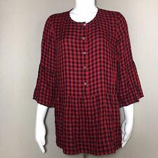 J.Jill Women's Small Peplum Blouse Flannel 1/2 Button Up Buffalo Plaid Red Black