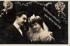 CD72.Vintage Postcard.Best Wishes for your Wedding.Bride and Groom