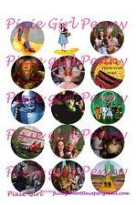 15 Precut Wizard of Oz  Dorothy Ton Man Lion Scare Crow Toto Bottle Cap Images
