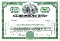 Pan American Sulphur Company Stock Certificate 100 Shares