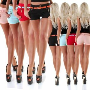 310339 Sexy Damen Hotpants Chino-Shorts kurze Stretch Hose Panty Hot Pants