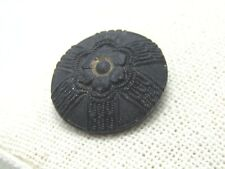 "Victorian Black Glass Sewing Button, Doomed Leaves Center Pattern, 7/8"", Shank"