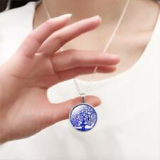 Living Tree of Life Glass Curly Tibet Silver Chain Pendant Necklace Round UK