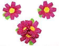 1970's CUTE Fun RETRO Large Pink & Yellow FLOWER Green Leaves PIN & EARRINGS SET