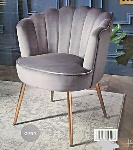 Hannah Grey Velvet Chair With Gold Metal Legs, Lounge Living Room Furniture New