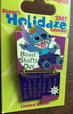 Disney DLR 2007 Holidaze Calendar Collection October Stitch Boxer Shorts Day Pin