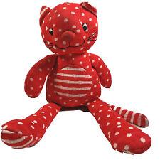 Little Jellycat Red White Polka Dot And Stripes Cat Kitten Baby Rattle Comforter