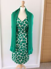 HOBBS Emerald Green & Off White Satin Blend Dress Size 12 and Shawl