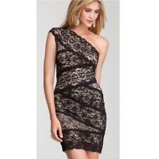 NWT bebe black lace dress one mixed shoulder stretchy bodycon top dress XL 12