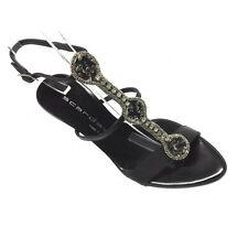 Scardavi Sandalo Donna Gioiello Elegante Tacco 90 Cinturino caviglia nero pelle