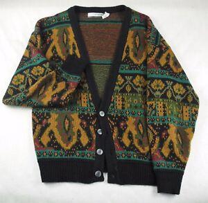 Mens L Multi Colored 100% Acrylic Vtg 80s Saturdays Button Up Sweater Vest L/S