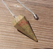 NATURAL UNAKITE STONE GEMSTONE FACETED PENDULUM