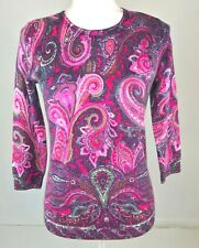 Talbots Petite Small Pink Purple Paisley 100% Cashmere 3/4 Sleeve Sweater Top