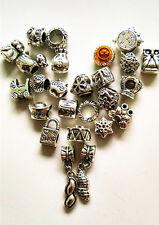 20PCS/lot Mixed Silver Plated Big Hole alloy Beads Fit European Charm Bracelet