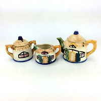 Lot 3 Made In Occupied Japan Tea Pot Set Bowls Lids Asian Porcelain Hand Painted