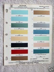 1961 MERCURY & COMET, DITZLER PAINT CHIP CHART