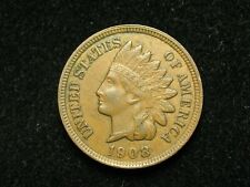 SUMMER SALE!!  AU 1908  INDIAN HEAD CENT PENNY w/ FULL LIBERTY & DIAMONDS #107c