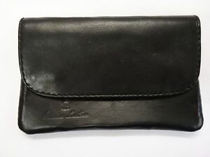 Soft Leather Tobacco Pouch Organizer with Space for Money Black Magnetic button