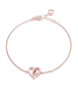 Rose Gold Red Ruby 925 Sterling Silver AAA Cz Heart Bracelet Bangle Chain 7.5""