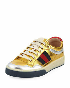 Gucci Metallic Gold Silver Web Leather Low Top Ace Screener Sneakers GUC 8 US 9