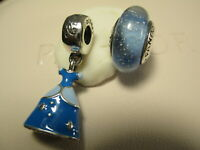 2 Authentic Pandora Disney Cinderella's Blue Princess Dress Charm & Murano Glass