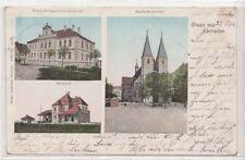 73271- Gruß aus Herrieden Klitzer Ak mit Bahnhof Landkreis Ansbach 1904