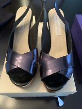 STELLA MCCARTNEY SHOES GLOSSED FAUX PATENT LEATHER Wooden SANDALS 40 $460