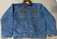 Vintage Key Imperial Denim Trucker Jean Jacket Quilted Corduroy Collar 44 Tall
