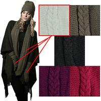 Ladies Knitted Snood Scarf & Fingerless Gloves Set White Neck Warmer Designer