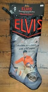 """Elvis Presley Musical Christmas Stocking Plays """"Burning Love""""  New With Hanger"""
