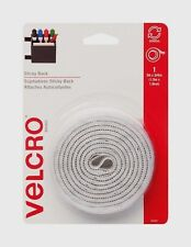 "White VELCRO Hook & Loop Fastener 5' x 3/4"" W Adhesive STICKY Back Tape 90087"
