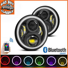 "7"" DEL Halo Bluetooth Projecteur Phares high low beam Pour Landrover Defender"