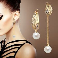 ANGEL WINGS GOLD PLATED STUD PEARL EARRINGS CRYSTALS DROP LADIS XMAS GIFT