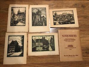VINTAGE 1946 NUREMBERG GERMANY ALBRECHT DUERER 5 ORIGINAL WOODCUTS HOLZSCHNITTE