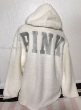 Victoria's Secret Pink Paper White Silver Sherpa Quarter Zip Pullover Hoodie - L