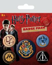 Harry Potter Hogwarts Crest pack of 5 round pin badges (py 80485)
