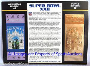 SUPER BOWL 22 WASHINGTON REDSKINS vs BRONCOS Willabee Ward 22KT GOLD TICKET XXII