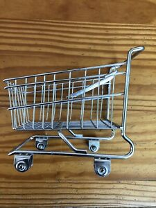 Vintage Mini Doll Metal Grocery Mall Shopping Cart Toy Basket Wheels