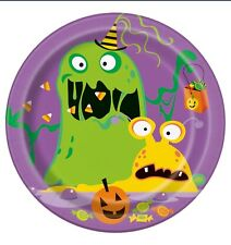 """8 SILLY HALLOWEEN MONSTERS Party Supplies Small 7"""" Dessert Cake PLATES"""