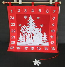 Advent Calendar Christmas Snowman Red Felt 17 in x 17 in 24 pockets